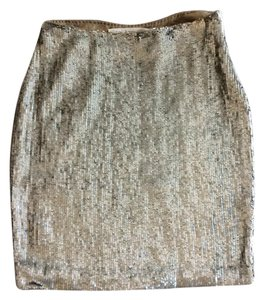 Yigal Azroul Sequin Pencil Straight Mini Skirt Gold