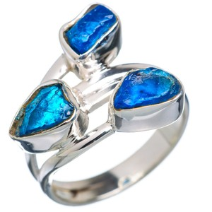 Rough Apatite 925 Sterling Silver Ring Size 7.25