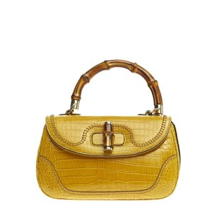 Gucci Crocodile Satchel in Yellow