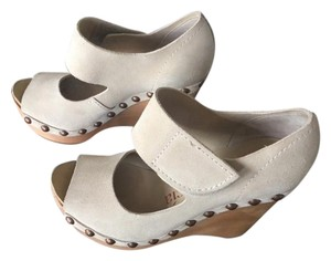 Pedro Garcia Studded Peep Toe Suede Casual Tan Wedges