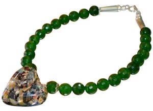 Other Pretty Sterling silver Jade Bracelet with Opal Triplet Charm/Pendant