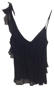 French Connection Silk Ruffle Bow Top Black