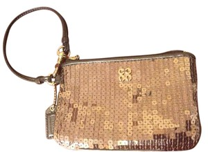 Coach Wristlet in Charcoal Sequin-Leather Trimmed