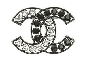 Chanel Chanel Black Crystal CC Logo Brooch
