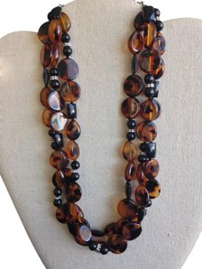Other Dramatic Tortoise Shell & Black Bead Necklace