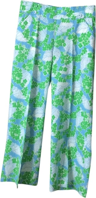 Lilly Pulitzer Flare Pants Green, blue