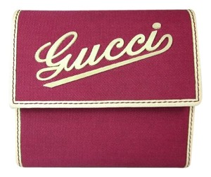Gucci Pink & Beige Leather, Medium Folding French Wallet
