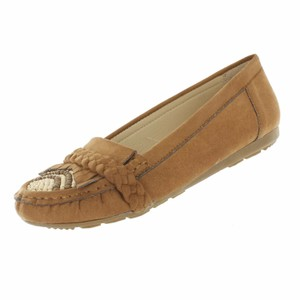 Red Circle Footwear Moccasin Fringe Beads Wood Braided Tan Flats