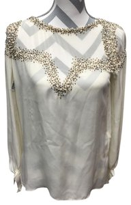 Haute Hippie Pearl Beaded Sheer Holiday Top Ivory