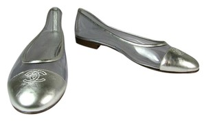 Chanel Silver Leather Cc Ballet Silver/Clear Flats