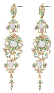 Rhinestone Crystal Mint Green Opal Earrings