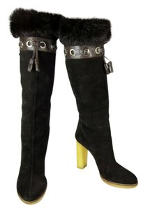 Gucci Brown Fur Leather Tall Boots
