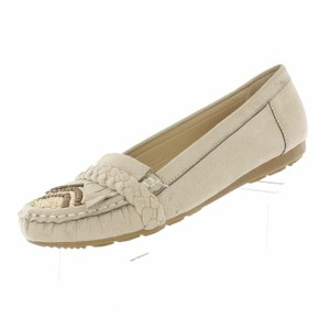 Red Circle Footwear Moccasin Fringe Beads Wood Braided Nude Flats