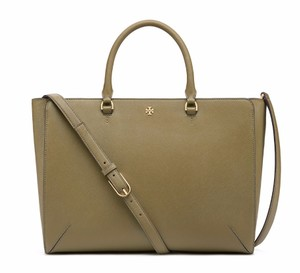 Tory Burch Saffiano Leather Satchel in Green Olive