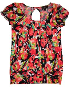 Byer California Keyhole Back Flowers Colorful Top Red, Black, Pink, White, Green, Teal, Yellow