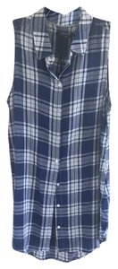 Max Jeans short dress Navy and White Shirtdress Button-down Sleeveless on Tradesy