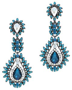Blue Rhinestone Crystal Opal Earrings