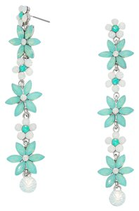 Rhinestone Crystal Mint Green White Opal Earrings