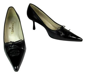 Chanel Black Leather Cc Heels Pumps