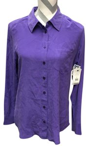 Equipment Silk Buttondown Signature Button Down Shirt Purple Deep Blue