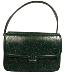 ALAÏA New Gunmetal Studs Satchel in Emerald Green