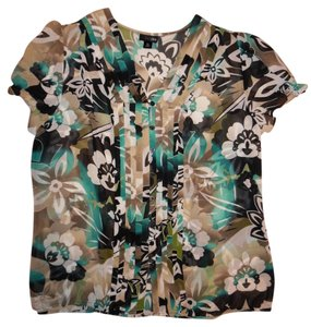 East 5th Essentials Buttoned Flowers Button Down Shirt Black, Teal, Ivory, Beige