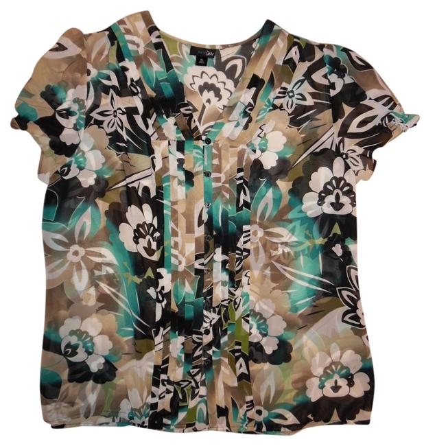 Item - Black Teal Ivory Beige Floral Sheer Button-up Blouse Button-down Top Size 16 (XL, Plus 0x)