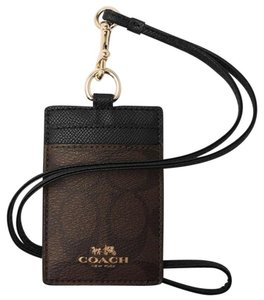 Coach COACH Signature Card Case employee I.D Tag holder Lanyard Badge