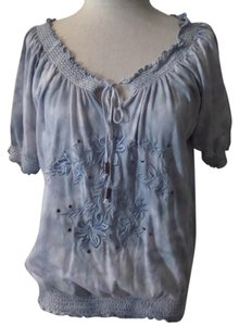 Adobe Star Embroidered Floral Top Gray and White