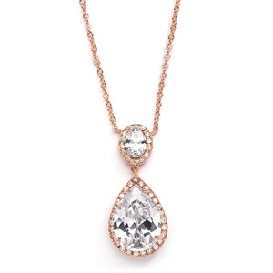 Mariell Couture Cubic Zirconia Rose Gold Pear Shaped Bridal Necklace 2074n-g