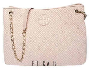 Tory Burch Leather Pink Tote in Light Oak