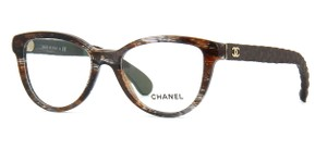 Chanel NEW Chanel CH 3335 Brown Patterned Quilted Denim Cat Eye Frames