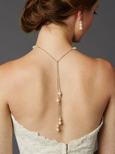 Mariell Handmade Glass Ivory Pearl Back Necklace With Lariat Dangles - 4440n-lti-cr-s