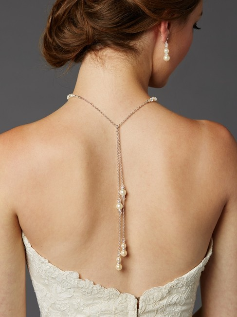 Item - Ivory Handmade Glass Pearl Back with Lariat Dangles - 4440n-lti-cr-s Necklace