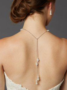 Mariell White Handmade Glass Pearl Back with Lariat Dangles - 4440n-w-cr-s Necklace