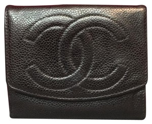 Chanel Chanel Bifold Button Flap Womens Cc Logo Embroidered Pebbled Leather Caviar Wallet