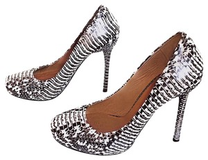 L.A.M.B. Snakeskin Round Toe Stiletto Leather Black, White Platforms