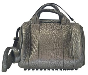 Alexander Wang Wang Rockie Crossbody Leather Satchel in Gunmetal/Silver