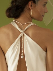 Mariell White Pearl & Crystal Long Back Necklaces Bridal Wedding 4080n-w-cr-s