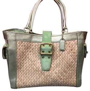 Coach Satchel in Green And Tan