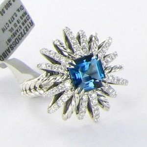David Yurman David Yurman Starburst Ring 23mm London Blue Topaz Diamond .37cts
