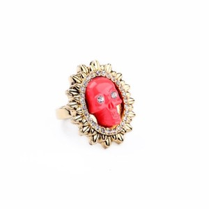 Other Crystal Gold Skull Ring