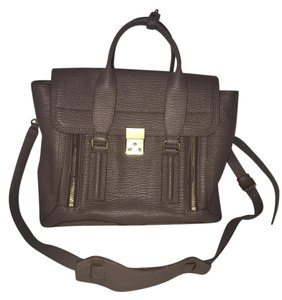 3.1 Phillip Lim Leather Pebbled Zippers Satchel in Taupe
