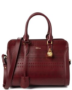 Alexander McQueen Padlock Small Leather Satchel in Burgundy