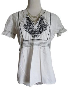 Ann Taylor LOFT Cotton Peasant-style Embroidered Empire Waist Top White