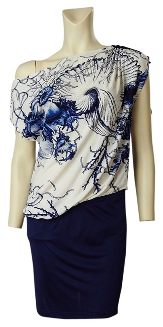 Roberto Cavalli short dress Navy & White Jersey on Tradesy