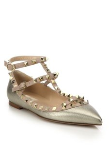 Valentino Gold Metallic leather Flats