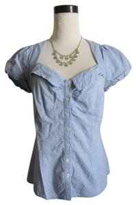 Anthropologie Swiss Dots Cap Sleeves Top Blue