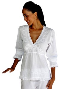 Lirome Embroidered Casual Summer Chic Top White
