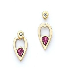 Other Crystal Gold-plated Leaf Shape Front to Back Ear jacket stud earrings
